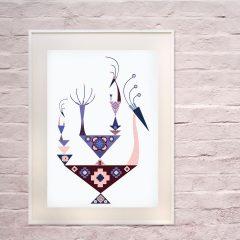 Uramljeni poster Crazy Birds Poudre A3