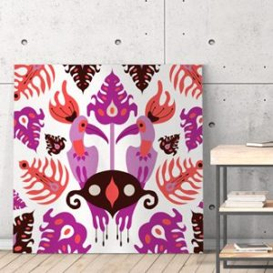 Ilustracija na platnu Toucan Love Pink 100x100cm