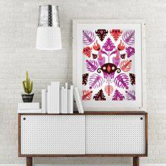 Uramljeni poster Toucan Love Pink A3