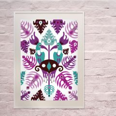 Uramljeni poster Toucan Love Aqua A4