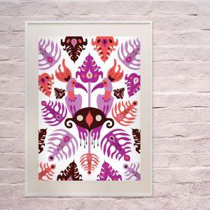 Uramljeni poster Toucan Love Pink A4