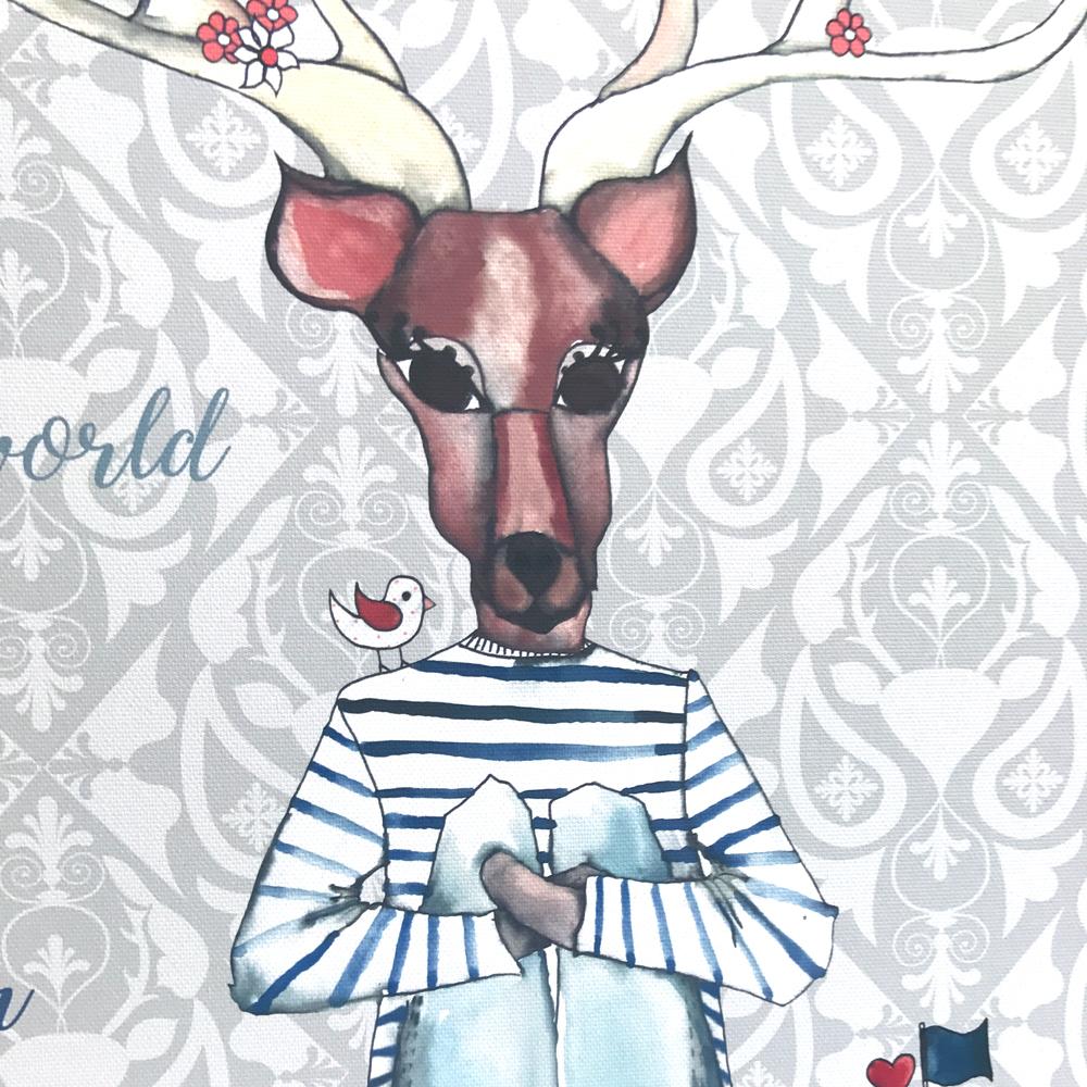 decija ilustracija na platnu, jelen, sa imenom