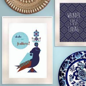 uramljeni poster zidna dekoracija sa ornamentima i pticom