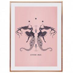 Uramljeni poster Mermaids blush pink A4