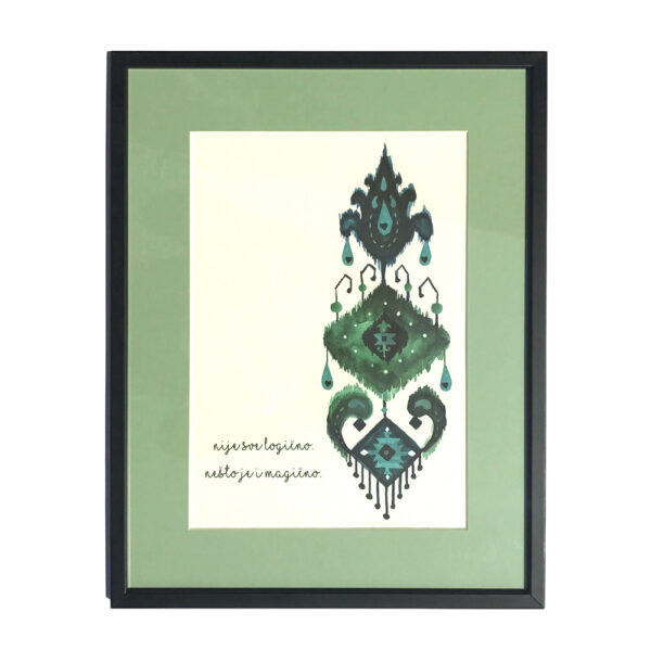 Motivacioni poster sa zelenim ornamentom