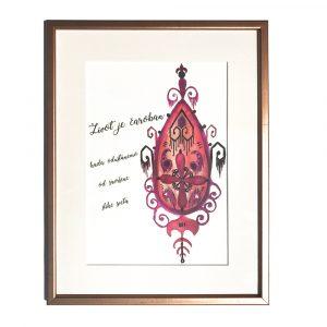 Motivacioni poster sa roze ornamentom