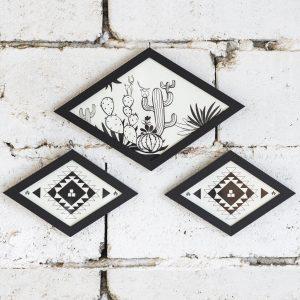 posteri u obliku romba sa kaktusima