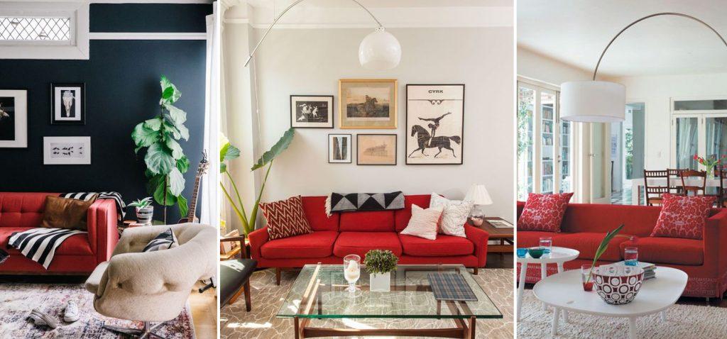 crvena sofa enterijer