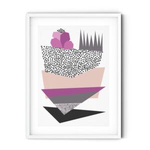 Uramljeni poster Triangles Lilac