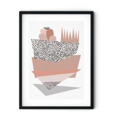 Uramljeni poster Triangles Nude Pink
