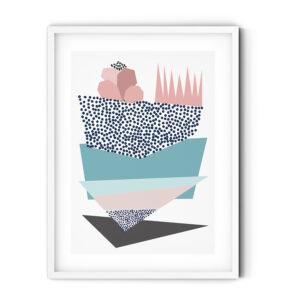 Uramljeni poster Triangles Turquoise Rose