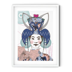 Uramljeni poster Girl with a Dragon Blue